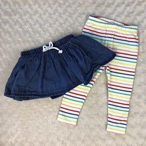 Baby Gap Stripe Leggings & Cat & Jack Skirt Bundle